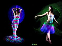 Light Paint formando vestidos e arte em fotos