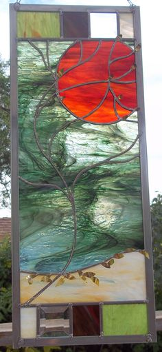 Fall Floating Leaves Stained Glass Window Panel- Brass Leaf Overlay- too oriental?