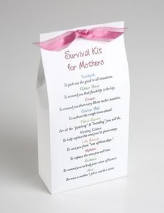 "New Mom Survival Kit by janie, a whole page of ideas for ""survival kits"""