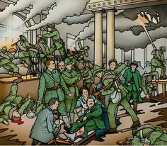 Above: Robert Ballagh's reinterpretation of Walter Paget's Birth of the Irish Republic and (opposite page) the original. (National Museum of Ireland) Ireland 1916, Easter Rising, Irish Art, National Museum, Famous Artists, Bowser, 19th Century, Reflection, Contemporary Art