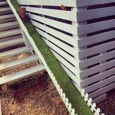 I actually don't hate the AstroTurf, but if probably just go slip resistant strips. Dog Ramp For Stairs, Dog Ramp For Bed, Outdoor Stairs, Outdoor Dog, Cat Ramp, Dog Yard, Dog Rooms, Dog Houses, Dog Friends