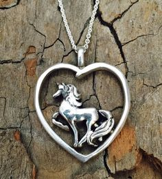 Fine Silver - Center of my Heart Unicorn Necklace