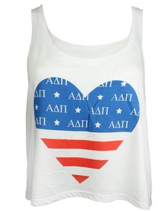Alpha Delta Pi USA Heart Tank by Adam Block Design | Custom Greek Apparel & Sorority Clothes | www.adamblockdesign.com