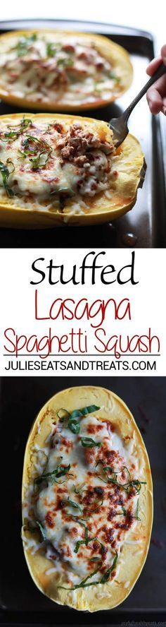 Stuffed Lasagna Spaghetti Squash Recipe ~ The Healthiest Lasagna You'll Ever Eat! Tender Spaghetti Squash Stuffed with Lasagna Filling!
