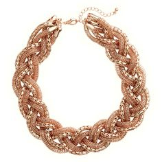 H&M Braided necklace ($15) ❤ liked on Polyvore featuring jewelry, necklaces, rose gold, braid jewelry, adjustable chain necklace, adjustable necklace, chunky chain jewelry y chunky necklace