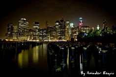 New york Skyline Night by Amador Esquiu What Is Life About, Cityscapes, Beautiful Landscapes, New York City, New York Skyline, Nyc, Night, Places, Travel