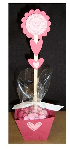 Valentine treat cup.  By: Sonia Ojeda.  2/10/14 - Modified the box and used stickers instead of stamps.  Such a neat idea.