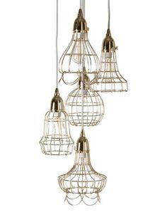 Wire basket cages lend a vintage charm to @LazySusanUSA's Gold Wire Five Pendant Lamp. #lvmkt C607. www.lazysusanusa.com