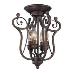 Millennium Lighting�12-1/2-in W Rubbed Bronze Semi-Flush Mount Ceiling Light...this might be perfect for my office.  The ceiling is pretty low for chandeliers but I would still like something decorative.