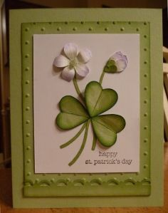 St Patrick's Day card using the bird punch ...2-step bird punch, flower trio punch, scallop trim border punch, Perfect Polka Dot embossing folder, Big Shot, micro beads, blender pen, sponge daubers