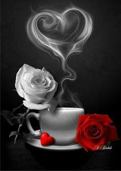 - Morgen - Guten morgen bilder - Chemistry Informations Beautiful Rose Flowers, Beautiful Gif, Love Rose, Beautiful Pictures, Rose Flower Wallpaper, Heart Wallpaper, Wallpaper Backgrounds, Wallpapers, Coffee Love