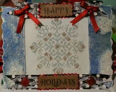 """Tarjeta decorativa """"Happy Holidays"""" handmade. Tiene unas dimensiones de 15x11 cm."""