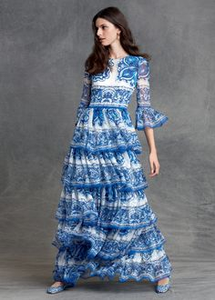 The Dolce&Gabbana Pre-Fall 2015 blue and white #DGMajolica print is your ticket to instant summer glamour.