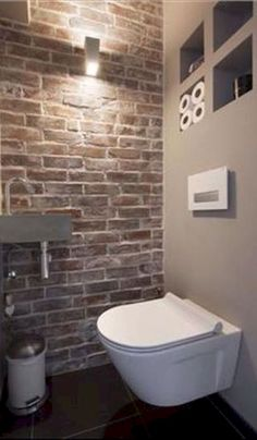 Space Saving Toilet Design for Small Bathroom - Home to Z Space Saving Toilet, Small Toilet Room, Guest Toilet, Downstairs Bathroom, Bathroom Layout, Design Wc, House Design, Villa Design, Design Hotel