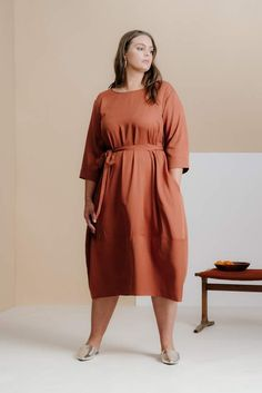 a2d05df5314 Cambridge Silversmiths And Comfort The Tie Dress in Terracotta Size 1X