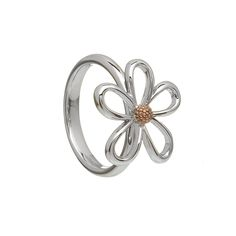 Sterling Silver & Rose gold open Petal ring with Rare Irish gold centre Irish Jewelry, Flower Center, Ring Size Guide, Jewelry Collection, Heart Ring, Unique Gifts, Rose Gold, Pure Products, Sterling Silver