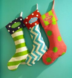 3 Fun & Funky Whimsical Christmas Stockings, Personalized, Family Stockings, Whimsical, Colorful, Fun. $82.50, via Etsy.