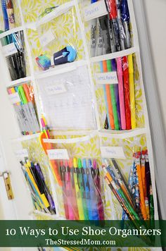 Using shoe organizers to corral your stuff -- TheStressedMom.com.  1. This picture below was found on Pinterest and linked to A Bowl Full of Lemons, but I cannot find the original post. Looks like she is using her organizer for all kids of writing utensils, as well as study guides, so this could be for a home-school family.