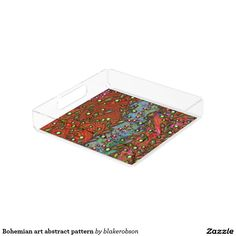 Bohemian art abstract pattern square serving trays