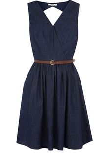 Denim Wrap Dress - Cute! I would probably match this with gold bangles and a pair of studs. Brown or off-white wedges would finish off my footwear.