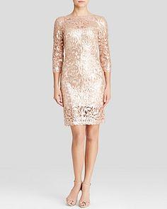 26e6cca8 Tadashi Shoji Dress - Three-Quarter Sleeve Sequin Lace Illusion Neck Sheath  Women - Bloomingdale's