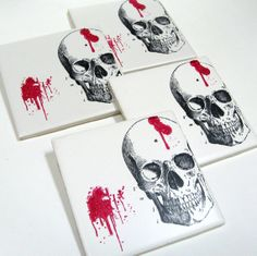 Horror Skull Coaster Set by ElvesInTheAttic