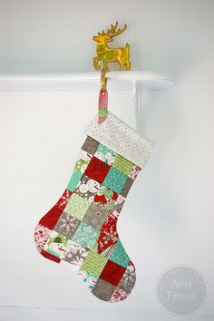 Free pattern and instructions for Patchwork Christmas Stocking | Amy Friend