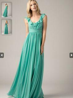2015 A-line Ruffle Neckline Blue Chiffon Bridesmaid Dress WTOO 808
