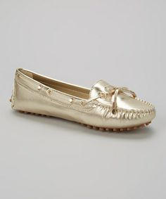 This Gold Metallic Dale Moccasin - Women by Wanted is perfect! #zulilyfinds