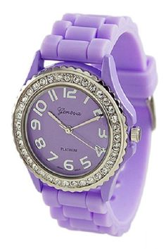 """Pastel purple watch $14.99  --  Larger Dial version of the Classic Geneva silicone band watch in assorted bright colors. Crystal Bezel and large numerals on the dial.     9.5"""" (24 cm) band length. 1.5"""" (38 mm) case diameter.     If a color is out of stock, you may submit an order request. Backorders are fulfilled in about 1-2 weeks.     Available colors are pictured below. Currently Out of Stock: Dark Brown, Dark Pink and Purple.   http://www.avaadorn.com/geneva-brights-silicone-watch-p-302.html"""