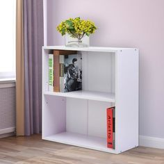 HOMCOM Wood Small Bookshelf 2 Tier Storage Unit Chest Home Office Furniture White|Aosom.ca Small Bookshelf, Bookshelves, Bookcase, White Office Furniture, Home Office, Locker Storage, Barbie Stuff, Cabinet, Bedroom Inspiration