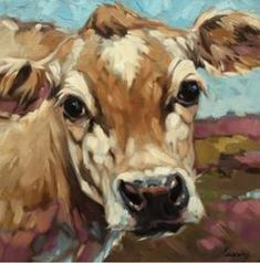 Original impressionistic oil painting of a Cow Copyrights of all artwork are non-transferable with sale. Andrea Lavery Art© all rights reserved. Animal Paintings, Animal Drawings, Art Drawings, Cow Painting, Painting & Drawing, Farmhouse Paintings, Cow Pictures, Farm Art, Cow Art