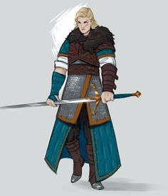 """""""sketch of Eilidh, my Witcher OC. She's originally from Clan Tuirseach in Skellige, and was trained at the School of the Bear in Haern Caduch"""" Fantasy Character Design, Character Creation, Character Design Inspiration, Character Concept, Character Art, Concept Art, Dungeons And Dragons Characters, Dnd Characters, Fantasy Characters"""