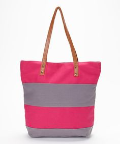 Take a look at the Expect Personality Pink & Gray Color Block Tote on #zulily today!