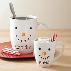 Snowman Face Mug | Personal Creations - it would be fun to make snowman cups and personalize them.