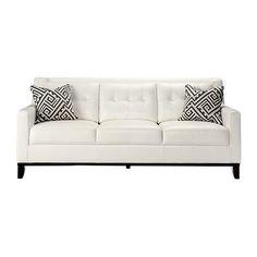 Reina White Leather Sofa (55.875 RUB) ❤ liked on Polyvore featuring home, furniture, sofas, white leather couch, white sofa, white furniture, white couch and leather furniture