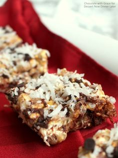 Chocolate Coconut Caramel Popcorn Bars