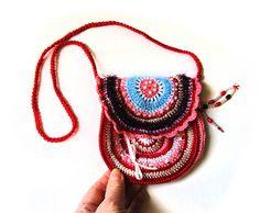Boho Tasche häkeln kleine rote Handtasche von PetsLair auf Etsy
