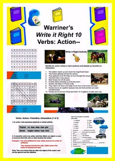 Warriner's Write it Right Action (Transitive and Intransitive) for Middle School ELA students. Activities, Handouts, and Rubrics! Ela Classroom, High School Classroom, Classroom Ideas, Middle School Ela, Middle School Teachers, Writing Curriculum, Writing Activities, Creative Teaching, Teaching Tips