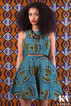 Cute outfit by Kabelis made with Nigerian Ankara print fabric.