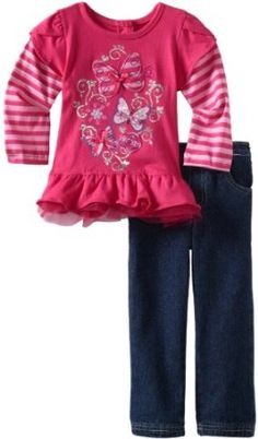 Young Hearts Girls 2-6X 2 Piece Butterfly Pant Set