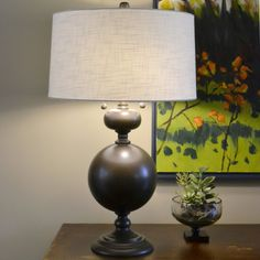 "Bronzed Steel 30.5"" Table Lamp"
