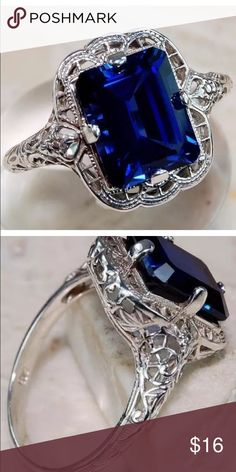 Sterling Silver Filigree Sapphire Ring Filigree Lab Created Sapphire Ring with filigree detail. Stamped Jewelry Rings