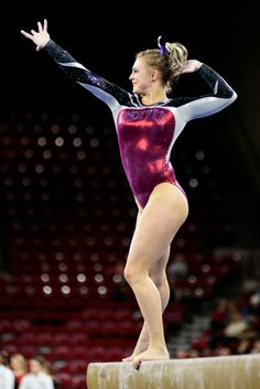 University of Denver gymnast Julia Ross holds a pose during her beam routine. Photo taken on March 7, 2015, in Magness Arena at DU.