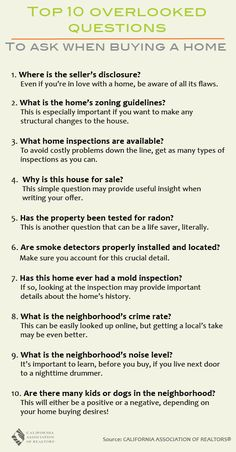 Buying a home can be overwhelming. So many things to know and so many questions to ask. Check out our list of Top 10 Overlooked Questions to Ask When Buying a Home-- they might come in handy!  Call Mykel at the TCR Group if you still have questions (909) 476-9600
