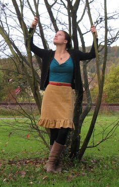 Fitted top with corduroy, ruffle hemmed, skirt. I have a calf length cord skirt that I was thinking about doing this to