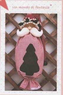 Artesanato Dona Arte: Natal - Puxa Saco Papai Noel em Tecido Com Molde.