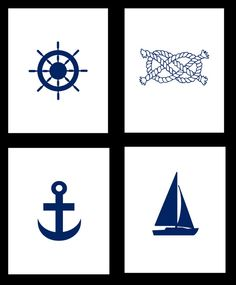 Nautical Print Set - Set of 4 Nautical Art Prints - 8x10