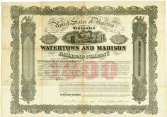 Watertown and Madison Railroad Company, State of Wisconsin, 1 June 1857, 8 % Second Mortgage Bond for US-$ 1,000, #89, 28 x 40.2 cm, black, red, rest of coupons, no cancellation, folds (partially broken), vignette with train, only 600 copies issued, only one more item listed at Cox, rarity from the collection of Tankred Menzel.