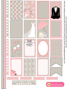 Free Printable Wedding themed Stickers for Happy Planner
